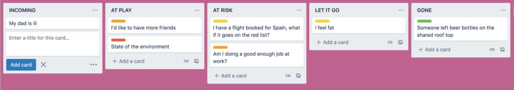 an example happiness Trello board